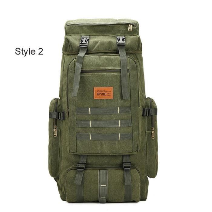 Style 2 Army Gree -Sac à dos tactique militaire 60l pour homme, accessoire de Camping, alpinisme, voyage, Sport en plein air, Molle,