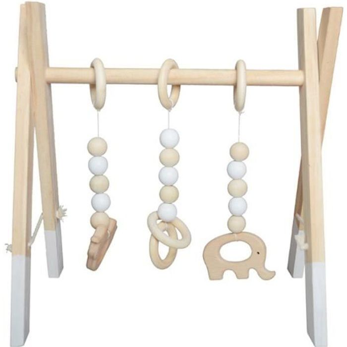 Tapis d'éveil,Simple nordique en bois nouveau né Fitness support enfants chambre décorative jouets photographie - Type White