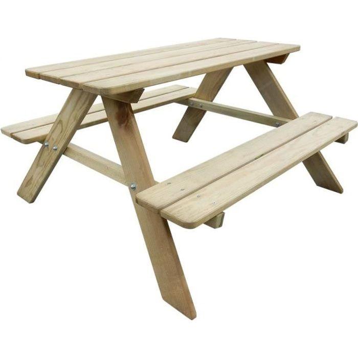 Version mise à jour Table de Pique-Nique en Bois Table Banc Meuble Jardin pour Enfants, résistant aux intempéries grâce à Son