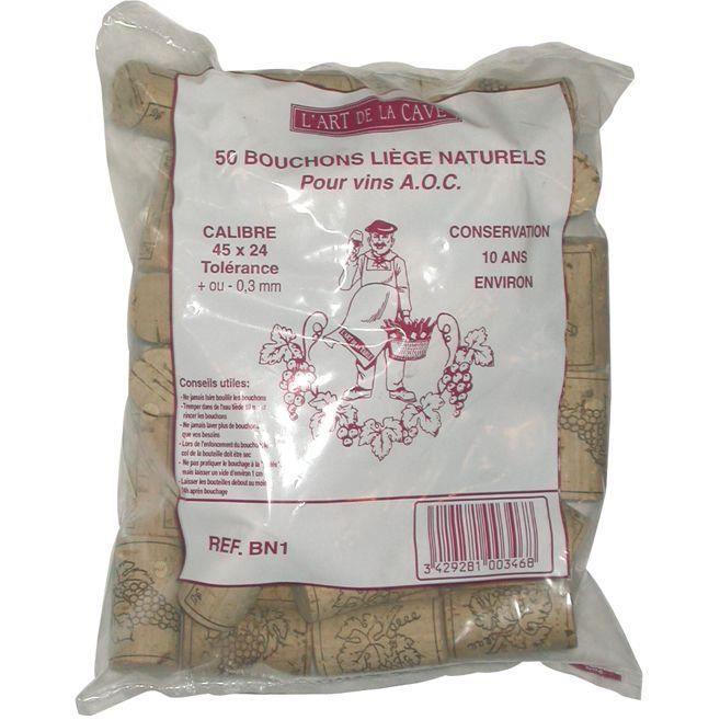 BOUCHONNERIE JOCONDI Bouchon cylindrique en liège naturel x50 - 45x24 mm