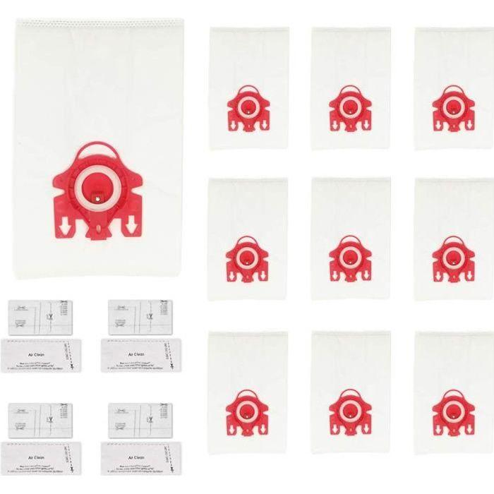 Kit de Sacs Compatibles avec les Aspirateurs Miele : 10 Sacs + 4 Microfiltres (Alternative à FJM HyClean, 10123220)