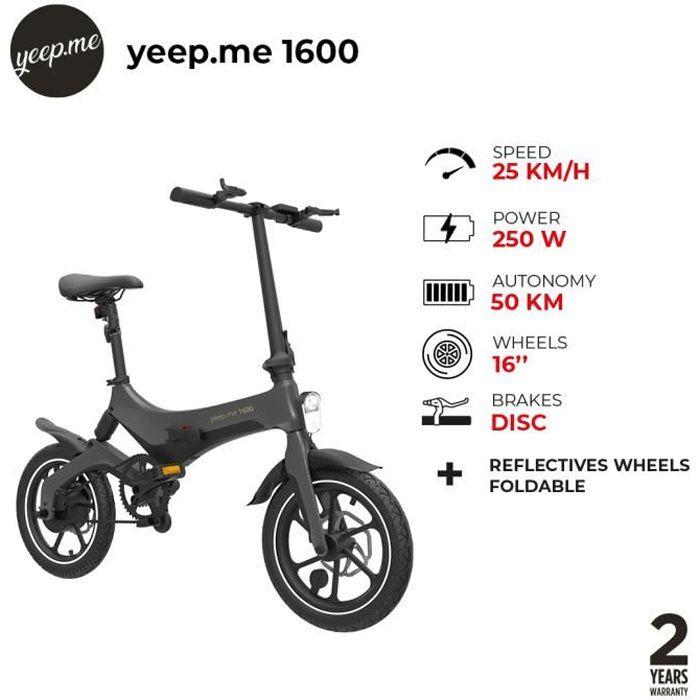 yeep.me 1600 vélo à assistance électrique pliant et léger pour adulte - jusqu'à 50km d'autonomie