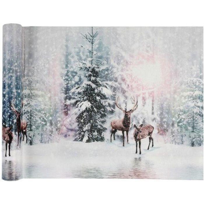 Chemin de table de Noël avec cerfs givrés irisés 30cm x 5m (x1) REF/6513