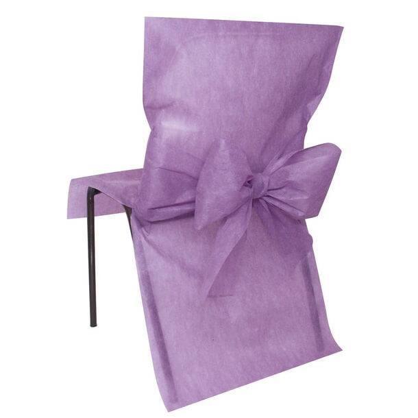 Décoration élégante avec housse de chaise parme et son nœud (x10) R/2931