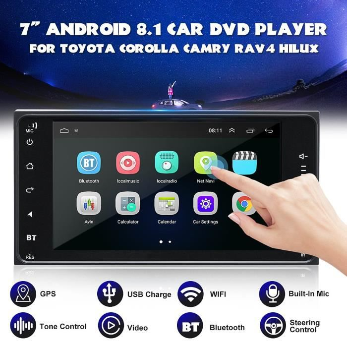 TEMPSA 7''2 Din Android 8.1 Autoradio Lecteur DVD WIFI GPS Bluetooth Pour Toyota Corolla Hilux RAV4