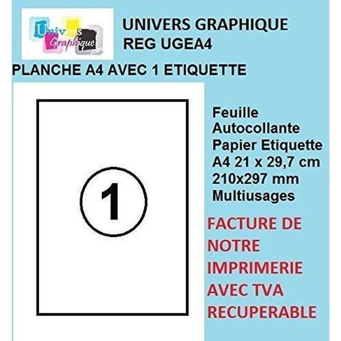 50 feuilles A4 papier adhésif blanc - Étiquette autocollante 210x297mm - planche adhésive permanente