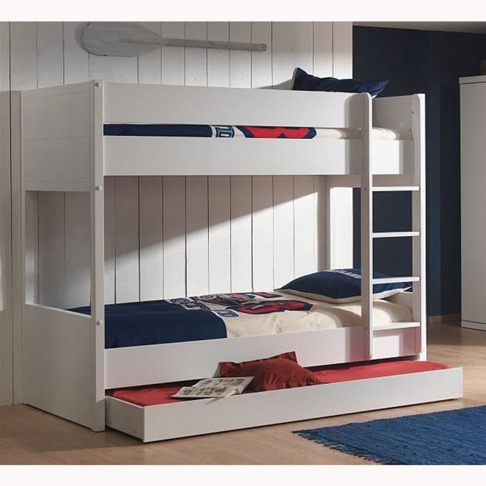 lit superpos gigogne enfant lara couleur blanc achat. Black Bedroom Furniture Sets. Home Design Ideas