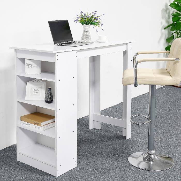 Table Bar de 4 à 6 Personnes Style Contemporain Table Haute avec Etagère de Rangement 4 Niveaux ...