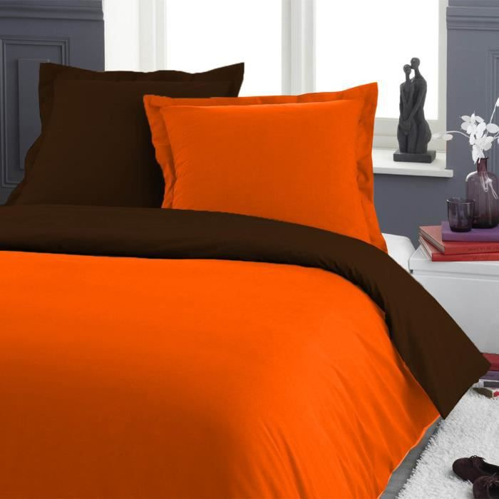 housse de couette bicolore orange chocolat 220x240cm 2 taies 65x65cm achat vente housse de. Black Bedroom Furniture Sets. Home Design Ideas