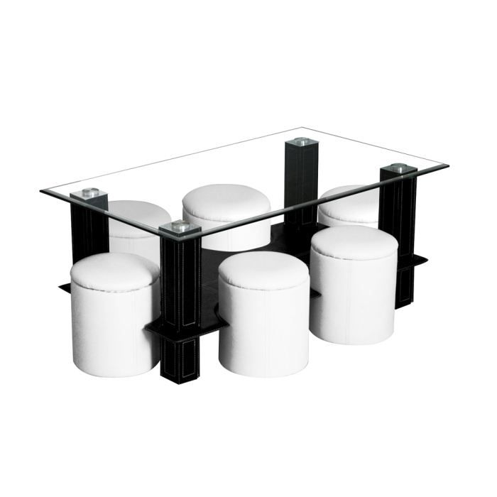 Table basse 6 poufs casalto achat vente table basse table basse 6 pou - Table basse avec 6 pouf ...