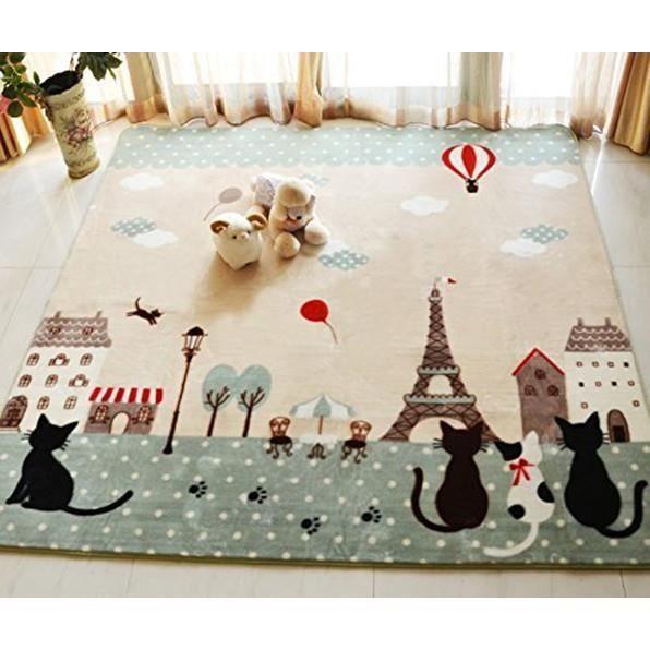 Tapis anti-dérapant pour chambre/salon Tapis de yoga Tapis pour enfant  Permet à bébé de ramper Lavable en machine Motif chats 130 x
