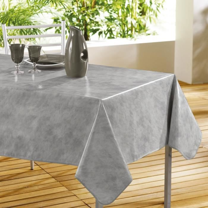 nappe pvc rectangulaire 240x140 beton cire gris achat vente nappe de table cdiscount. Black Bedroom Furniture Sets. Home Design Ideas