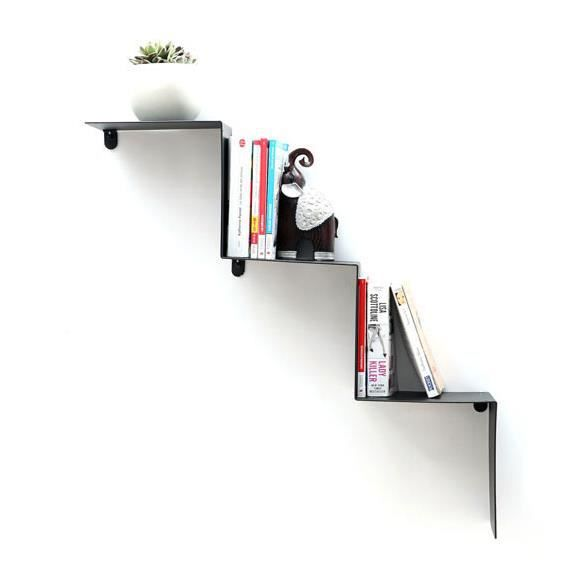 miliboo etag re design m tal noire zig zag achat vente etag re murale zig zag etagere. Black Bedroom Furniture Sets. Home Design Ideas