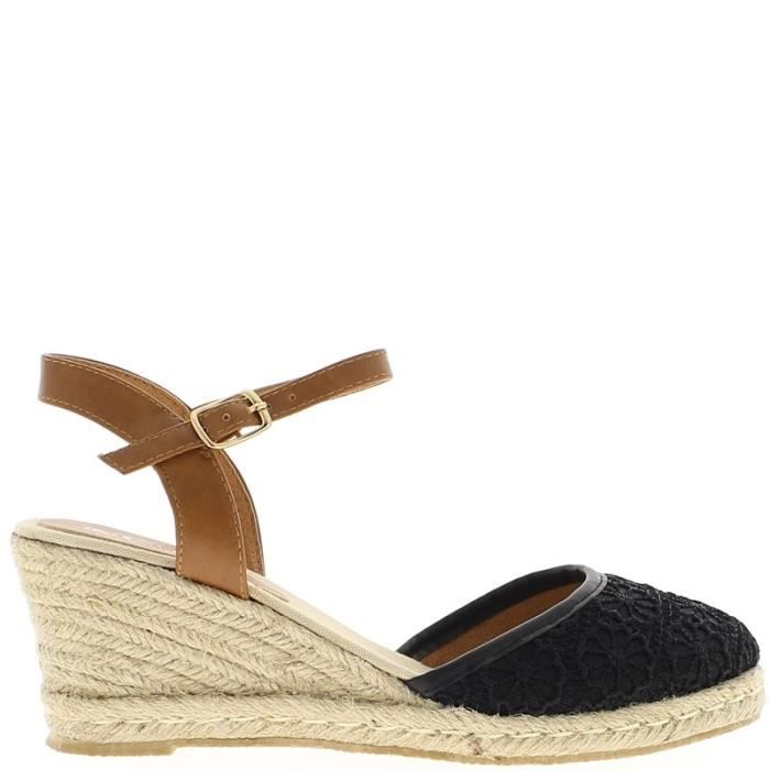 espadrilles compens es noires avec bride talon de 7cm et plateau de 2cm noir achat vente. Black Bedroom Furniture Sets. Home Design Ideas