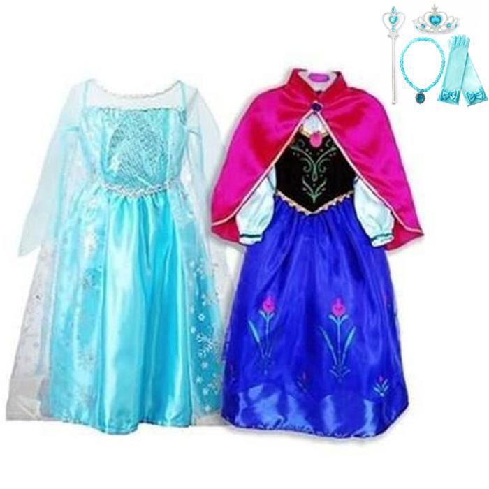 Deux Robe Elsa Anna Deguisement Reine Neiges Deux Robes Costume De Reine Des Neiges Pour Enfants 4 Accessoires 5 6 Ans Bleu Achat Vente Robe Cdiscount