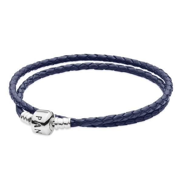 Double Bracelet Tressé en Cuir - bleu nuit PANDORA 590705CDB-D (35 ...