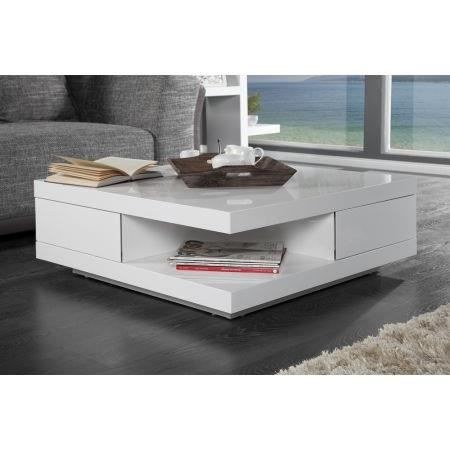 Table basse design blanc laqu ibiza achat vente table - Table basse design blanc ...
