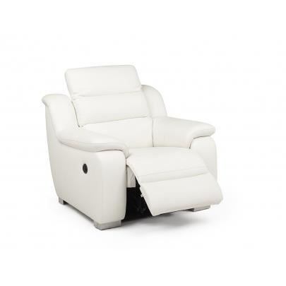Fauteuil relax lectrique cuir arena blanc achat vente fauteuil blanc - Fauteuil relax cuir electrique ...