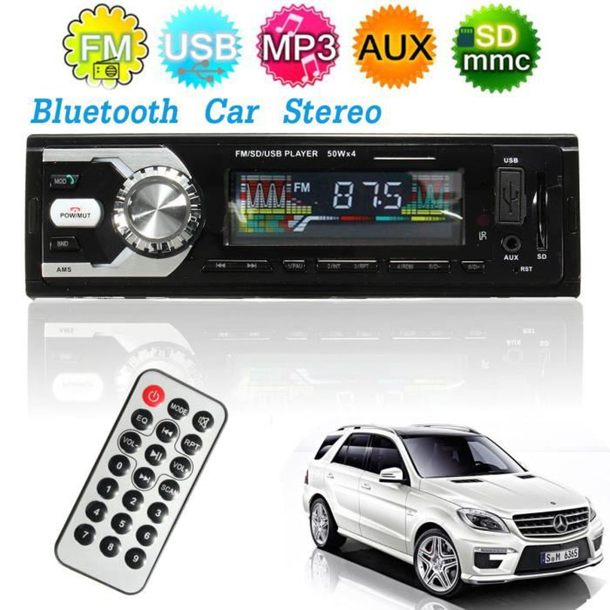 tempsa autoradio audio st r o radio lecteur mp3 bluetooth usb t l commande voiture 12v lcd. Black Bedroom Furniture Sets. Home Design Ideas