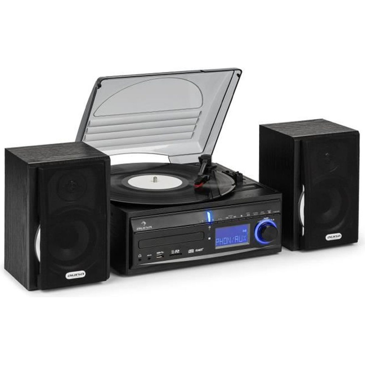 auna ds 2 cha ne hifi stereo compacte avec platine vinyle. Black Bedroom Furniture Sets. Home Design Ideas