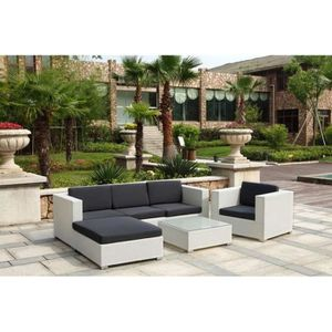 salon de jardin resine tressee blanc achat vente salon de jardin resine tressee blanc pas. Black Bedroom Furniture Sets. Home Design Ideas