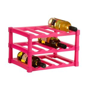 MEUBLE RANGE BOUTEILLE 3 niveau Hot Pink casier à vin pour 12 bouteilles