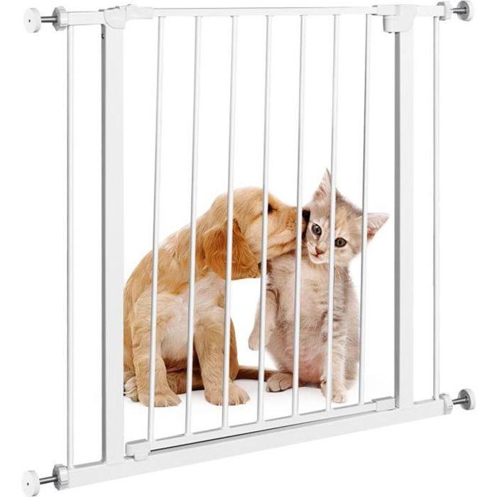 Barrière de Sécurité à Pression Murale sans Perçage pour Enfants, Animaux Domestiques pour Escaliers, Salon, Balcon, 76 x 77CM Blanc