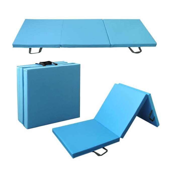 Tapis de Gymnastique Pliable, avec Poignées, Rembourrage en Mousse pour Tapis de Sol, Yoga, Fitness, Matelas de Gym-180x60x5cm-Bleu