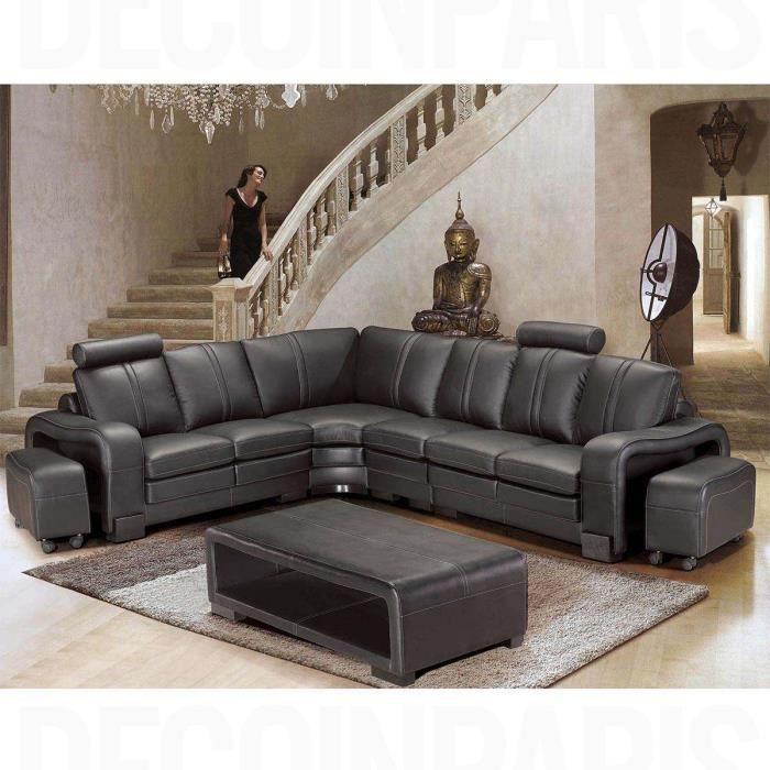 Canapé d'angle réversible en cuir noir avec appuie tête relax HAVANE