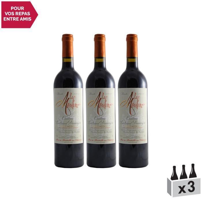Château Bertrand Braneyre Cuvée La Mouline Rouge 2002 - Lot de 3x75cl - Appellation AOC Haut-Médoc - Vin Rouge de Bordeaux -