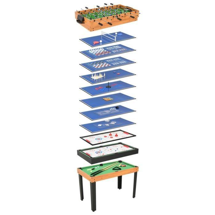 INGSHOP© Table de jeu multiple 15 en 1 121x61x82 cm Érable