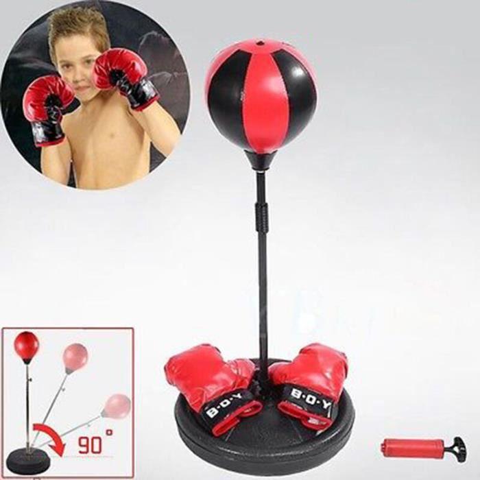 Punching Ball de Vitesse -Sac de Frappe -Réglable Avec Gants de Boxe Set Base de Pied Pour Enfants + pompe à main- - QIM