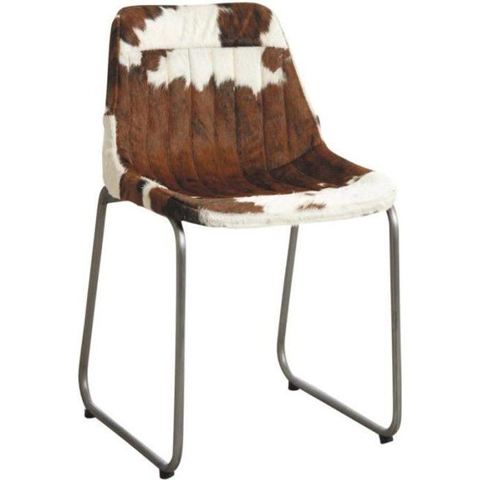 Chaise en métal et peau de vache