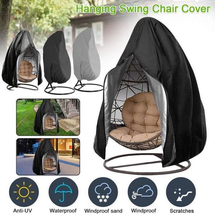 Noir Housse anti-poussière coquille d'oeuf pour chaise balançoire d'extérieur