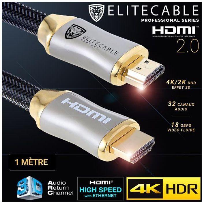 EliteCable - Câbles AV HDMI - Cable HDMI 2.0 1m 4K HDR UHD High Speed Ethernet 3D ARC Nylon Tressé Lecteur Blu-Ray Xbox 360 PS3 PS4