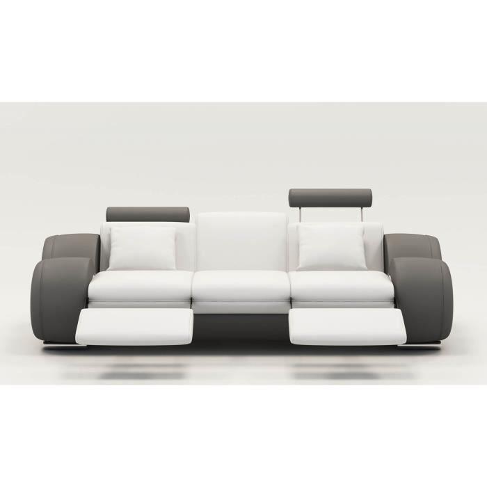 DYDDA - Canapé 3 places relax en cuir blanc et gris