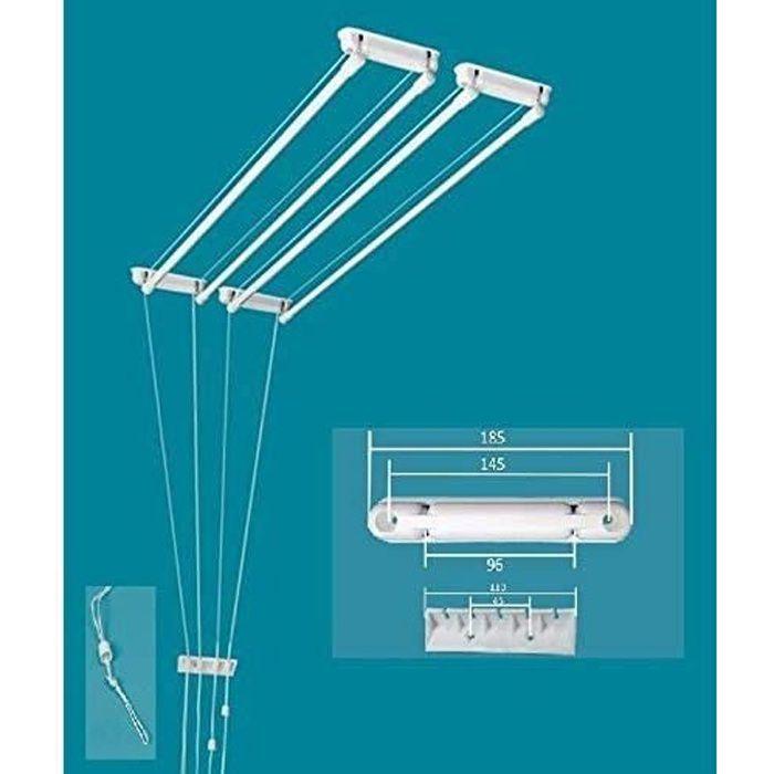 ETENDOIR tendoir à Linge Suspendu au Plafond 4 Barres (Largeur 37 cm) x 1 m 40, capacité d'&eacutetendage 5 m 60577