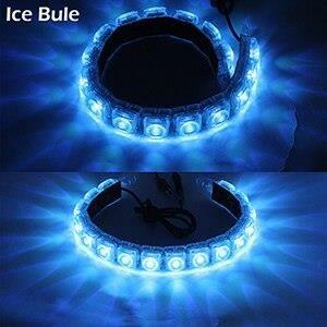 Ice Blue 8LED Transparent -Cawanerl – feu de jour pour voiture DRL, bande LED, feu de conduite, anti brouillard, blanc, glace, bleu,