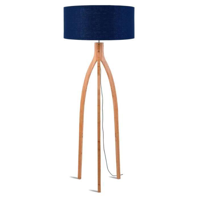 ANNAPURNA-Lampadaire tripode Bambou & Lin Naturel H160cm bleu denim Good & Mojo