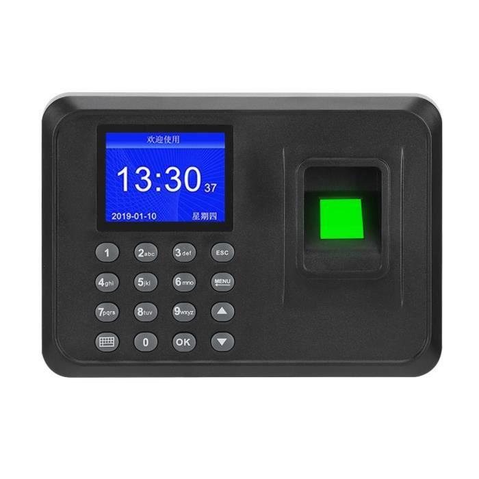 Pointeuse Enregistreur d'horloge machine Écran de 2,4 pouces d'empreintes digitales biométrique Mot de passe 110-240V (EU)