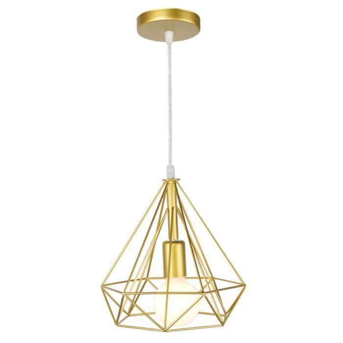 Camio Lustre Suspension Diamant en Fer Forgé Or 25cm*25cm Lampe de Plafonde éclairage décoration Balcon Salon Bureau
