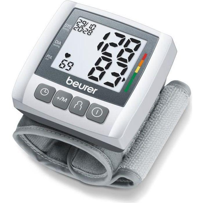 Tensiomètre de poignet BEURER BC 30 - 2 x 60 emplacements de mémoire - Tour de poignet de 13,5-19,5 cm