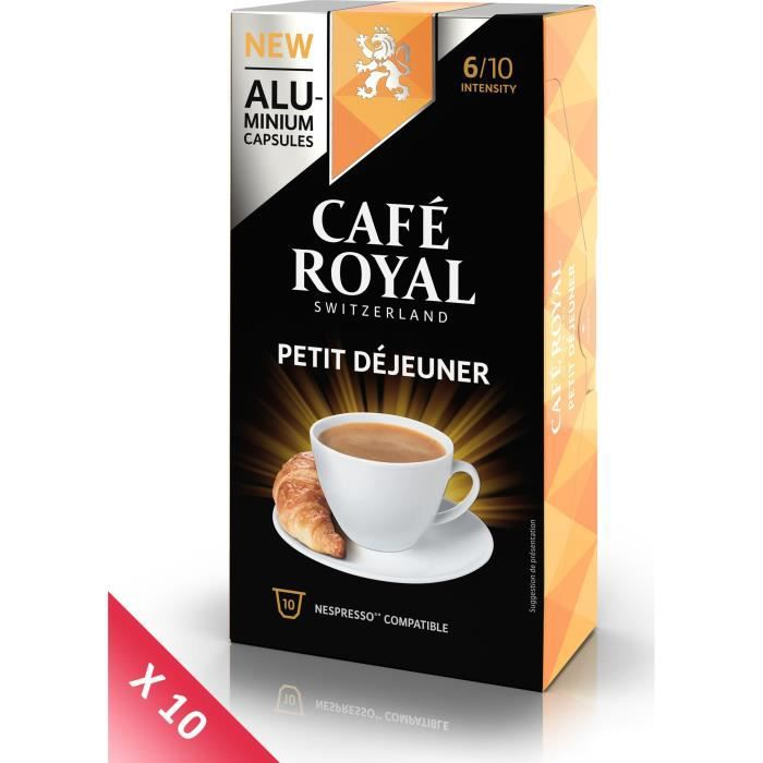 Lot de 10 CAFE ROYAL compatible Nespresso Alu Petit Déjeuner x10
