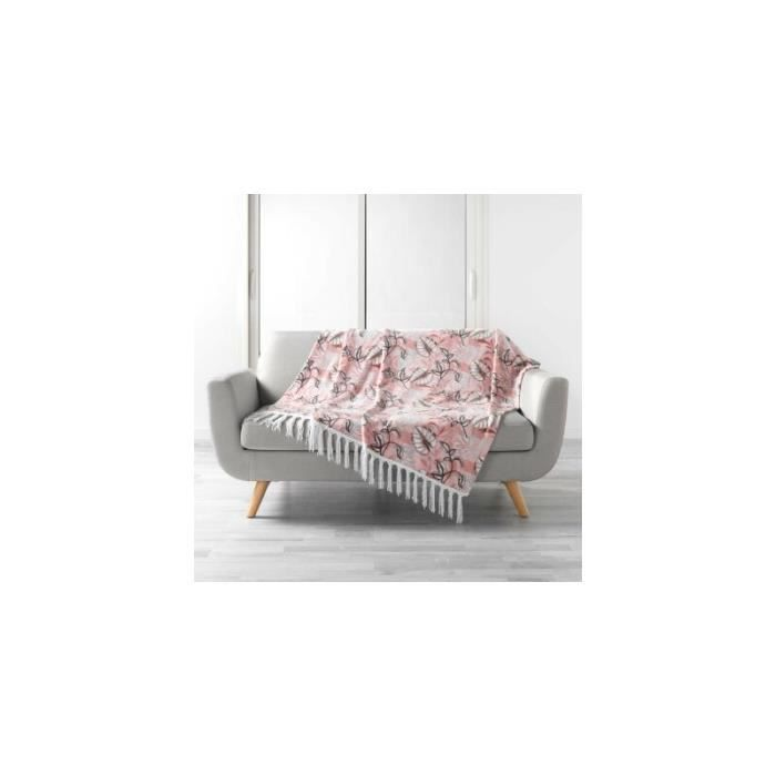 Accueil - Plaid à franges - Jardin d'intérieur - 125 x 150 cm - Rose