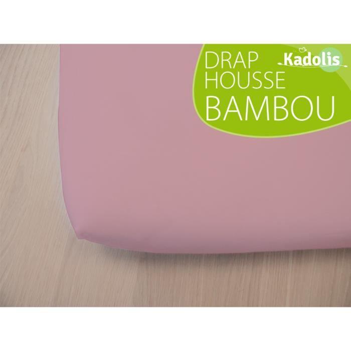 Drap housse BAMBOU 90x190 cm - Rose