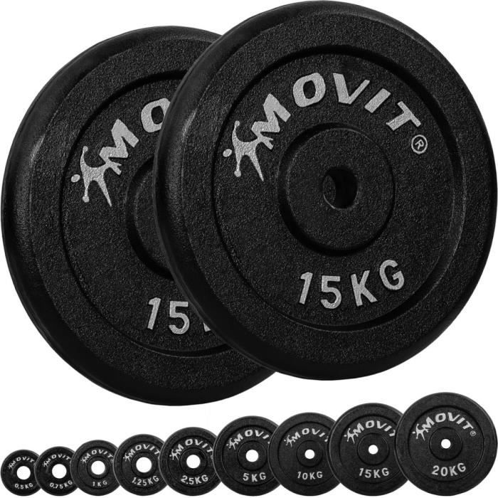 MOVIT® Lot de 2 disques en fonte de 15 kg - 30 KG - NOIR