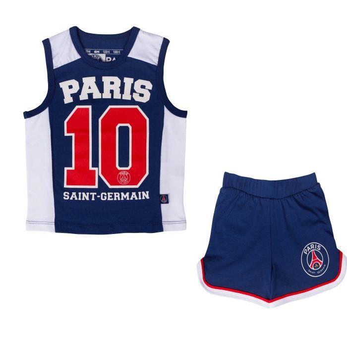 Ensemble PSG bébé garçon - Débardeur + short - Collection officielle PARIS SAINT GERMAIN