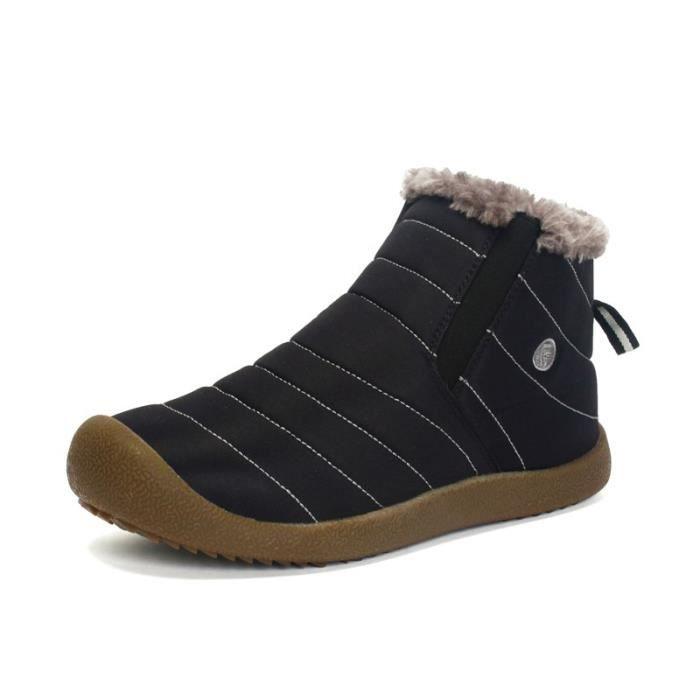 Noir Nouveauté Chaussure d'hiver Homme avec velours chaud Botte Homme respirant Imperméable Antidérapant