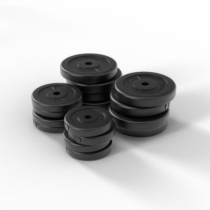Physionics® Haltère / Poids de Musculation - 30 kg, 2 Barres Courtes et 4 Fermoirs - Disques pour Fitness, Set d'Haltères Courts