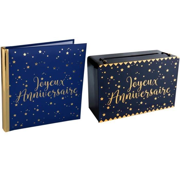 R/5664-5671-1 Pack anniversaire urne et livre d'or bleu marine et or